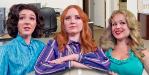 "Pictured, from left, are Angie Fisher as Judy Bernly, Emily Dunn as Violet Newstead and Sarah Philabaum as Doralee Rhodes, an unlikely trio who team up against their boss in ""9 to 5 the musical,"" now on stage through Sept. 1 at Amish Acres Round Barn Theatre. (Photo provided)"