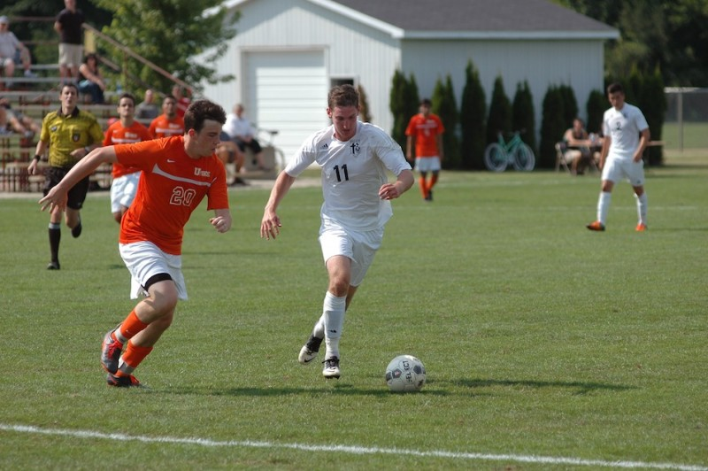 Steven Fiema, the reigning conference player of the year,  had two goals and an assist Saturday to lead Grace College to a season-opening soccer victory in Winona Lake (Photo provided by Grace College Sports Information Department)