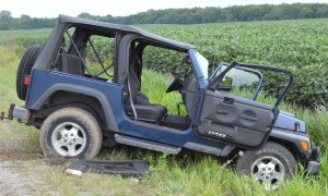 The driver and passenger in this Jeep sustained unknown injuries and were transported to an area hospital