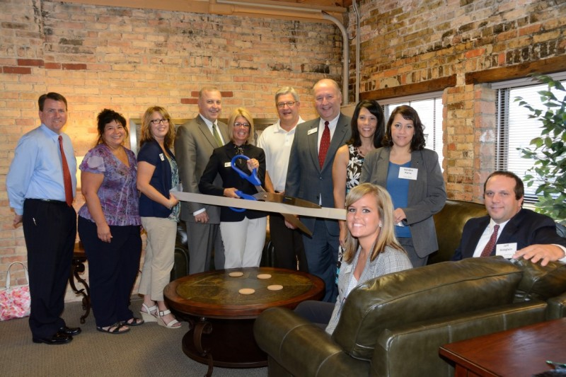 From left are Mark Dobson IOM, president and CEO Warsaw Kosciusko County Chamber of Commerce; Yolanda Hedington, KeyBank and chamber ambassador; Lori Bolyard, Beacon Credit Union and chamber ambassador; Todd Skiba, Haines, Isenbarger & Skiba; Lisa Isenbarger, Haines, Isenbarger & Skiba; Warsaw City Mayor Joe Thallemer; Todd Haines, Haines, Isenbarger & Skiba; Jenna Secrist, Vectar OnSite CPAs and chamber ambassador; and Sandra Parra, Tower Bank and chamber ambasssador.  Seated in front are Heather Heal and Jeff Goeglein, both with the firm Haines, Isenbarger & Skiba.