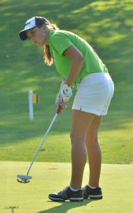 Lady Warrior junior Elizabeth Jackson looks for her putt to hit the bottom of the cup Tuesday evening at Maxwelton. (Photos by Nick Goralczyk)