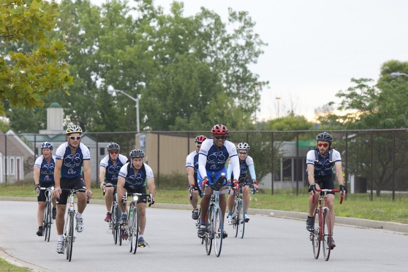 Some of the two dozen cyclists who arrived at Grace College Friday are shown earlier in the tour (Photo provided by Jennifer Coudron)