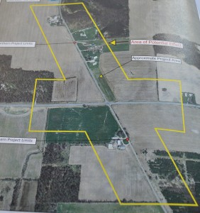 This photograph of an aerial view outlining the potential effected areas was taken from the document on file at Syracuse Public Library. (Photo by Deb Patterson)