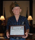 Philip Lincoln Porter was named August's Veteran of the Month at Kosciusko County Commissioners meeting on Tuesday. A World War II veteran, Porter was in the Third Army and served with Gen. George S. Patton when Porter was a military policeman. (Photo by Phoebe Muthart)