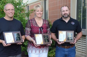 (From left) Andrew Bass, Tracey Akers and Don Ritter were all honored today at the WCS Welcome Back Ceremony as support, special services and teacher staff members of the year.  (Photo by Alyssa Richardson)