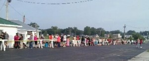 Parents and children began lining up for the annual Tools for Schools giveaway early this morning. The event goes through 4 p.m. (Photo provided by Shanna Atteberry)