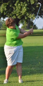 Rebecca Bender of Wawasee rips a shot down the fairway on number seven on Tuesday night.