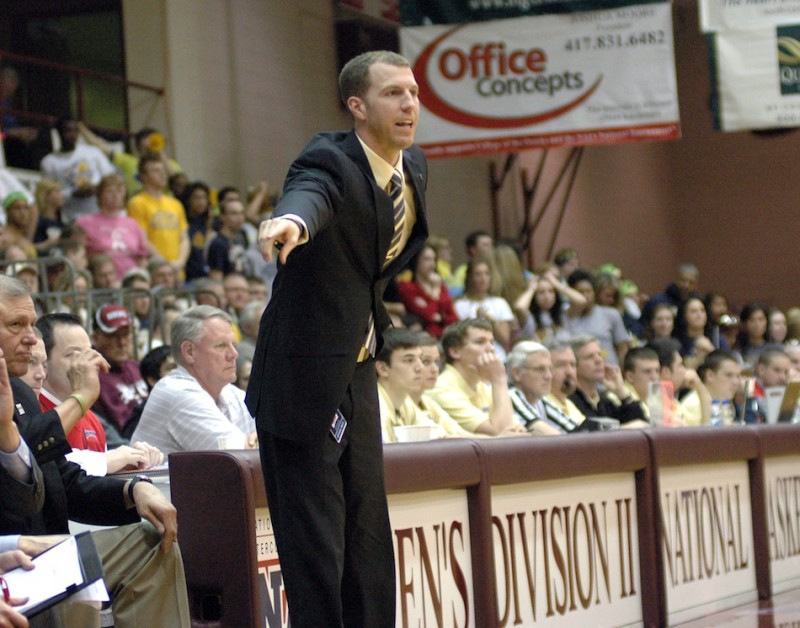 Scott Moore, shown in his role as an assistant coach for the Grace College men's basketball team, is adding to his responsibilities for the Lancers' athletic program (Photo provided by Grace College Sports Information Department)