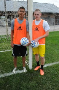 Alex Climaco, left, and Sam Allbritten should help keep Warsaw's soccer net clean of opposing shots. (Photo by Mike Deak)