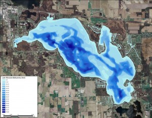 This bathymetric map of Lake Wawasee shows the various depths with many indicating the best place for skiing, wakeboarding and surfing is the darker blue areas where depths range from 20 feet to 80 feet deep.