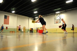 Game action of pickleball being played at the Warsaw Armory. (Photos by Mike Deak)
