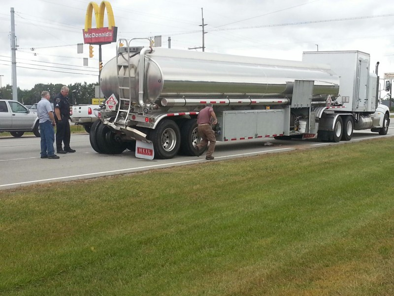 Fortunately no injuries were reported when a semi rear-ended this tanker in the westbound lane of U.S. 30, Warsaw. (Photos by Alyssa Richardson)