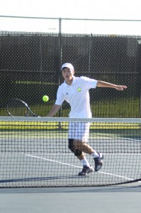 Senior Evan Miller was a winner at No. 3 singles for host Warsaw Monday night (Photo by Amanda Farrell)