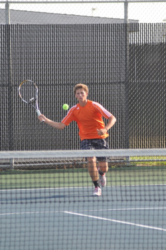 Will Petro prepares to hit a shot during his match for Warsaw Wednesday. Petro won in straight sets at No. 2 singles as the Tigers lost 3-2 to Culver Academies (Photos by Amanda Farrell)