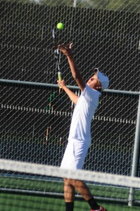 Will Petro eyes a serve for Warsaw Monday. Petro teamed with Nikos Schlitt for a win at No. 1 doubles in a 3-2 NLC loss to Concord (Photo by Amanda Farrell)