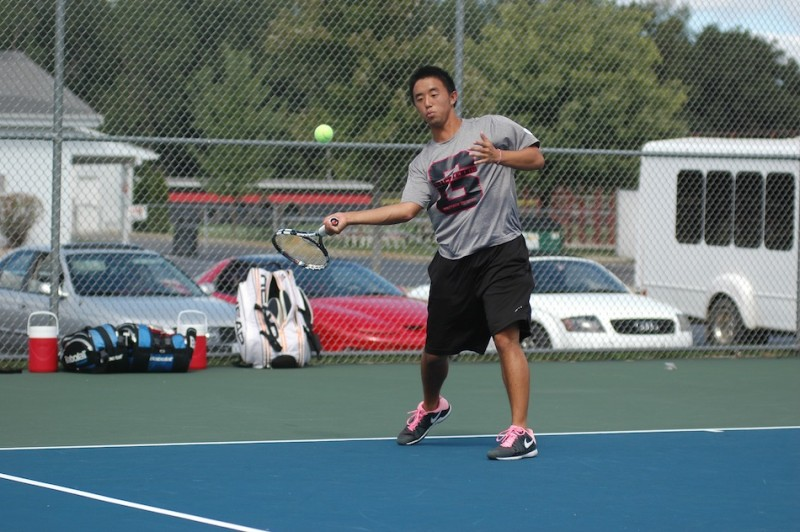 Senior Jack Wang makes a return for Grace College during a conference win Tuesday over Spring Arbor (Photo by Hannah Clemmons)