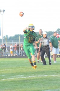 Tippecanoe Valley star quarterback Ben Shriver throws a pass in the preseason scrimmage versus Warsaw. The senior injured his knee Friday night and is slated to have an MRI Tuesday (File photo by Scott Davidson)