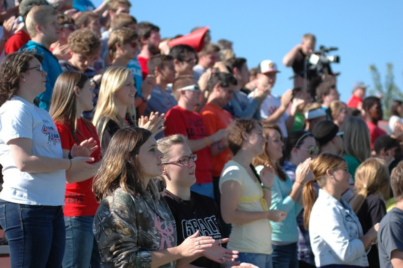 A huge crowd turned out at Miller Field Wednesday to cheer on the Grace College men's soccer team (Photo by Hannah Clemmons)
