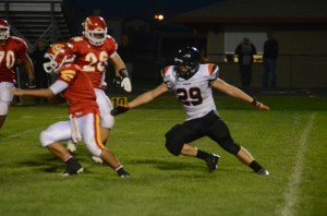 Senior linebacker Seth Fouts (No. 29)  had a strong game on defense for Warsaw Friday night.