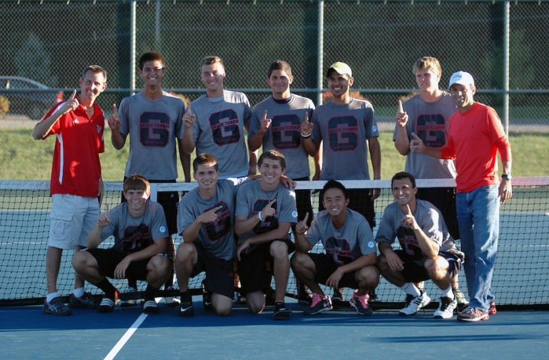 The Grace College men's tennis team claimed its second straight conference regular season title Thursday with a 6-3 home win over Marian (Photo provided by Grace College Sports Information Department)