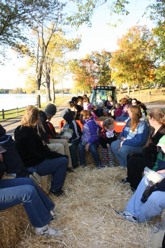 Families enjoy at hayride around Pike Lake at the 2012 Fall Family Fun event.