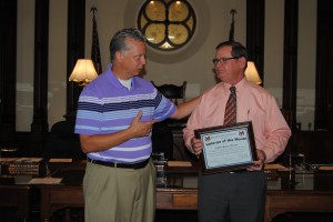 Laban Andrew Weaver of Warsaw was named September's Veteran of the Month at Tuesday's commissioners meeting. Weaver served in the U.S. Navy from 1966 to 1969, with one year in Vietnam. Weaver, right, is pictured with Rich Maron, left, the county's veterans service officer. (Photo by Phoebe Muthart)