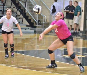 Wawasee's Lydia Katsoropoulos makes a play in the championship game. The senior ed her team with 22 kills and was named to the All-Tournament Team.