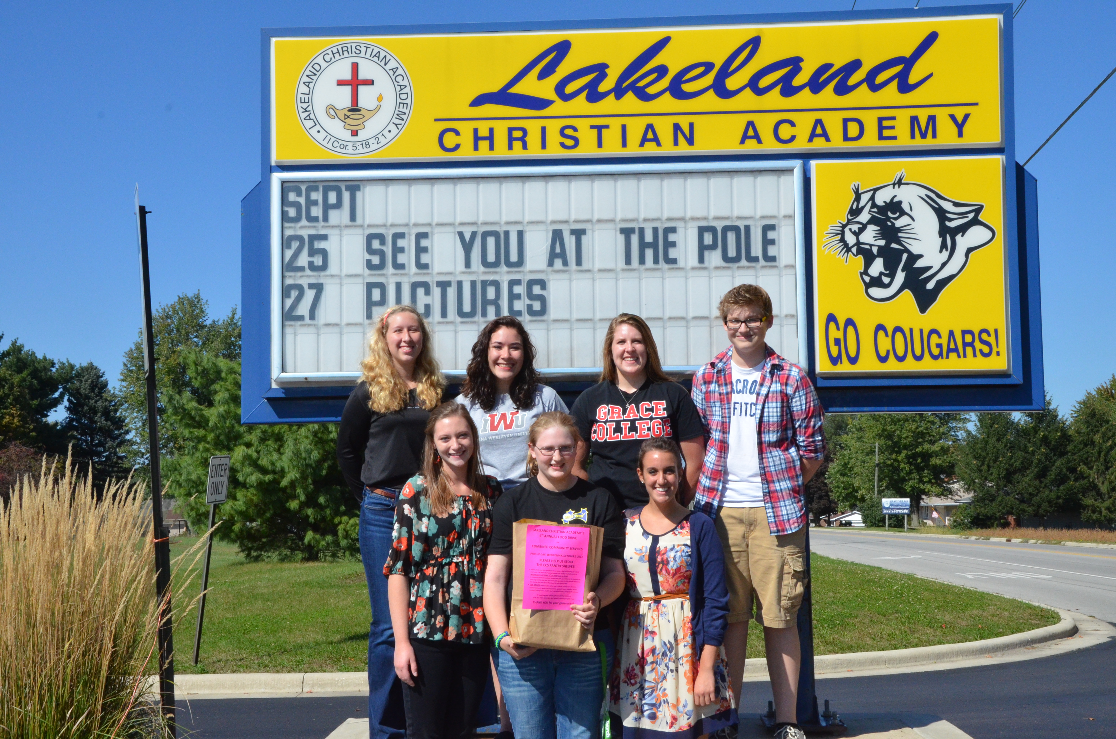 Lakeland Christian Academy   will begin gathering food for the sixth annual CCS Food Drive Monday, Sept. 30.  Photographed are student organizers (back row, from left): Elizabeth Brehnay, Victoria Flores, Julianne Haines, Cameron Estep.  Front row: Landyn Brune, Sarah Gross, Abbey Hartwiger.  Not photographed: Nathan Gross.