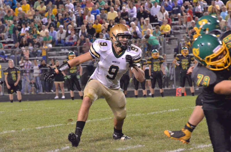 Wawasee's Braxton O'Haver looks to make a big play for the Warrior defense in Friday's game.