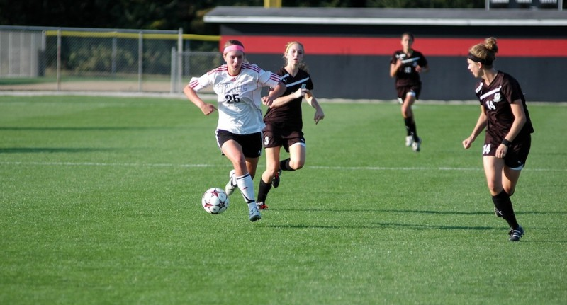 Grace College freshman Meredith Hollar had two goals Saturday in a 3-0 home win over Huntington. Hollar is former star at WCHS (Photo by Seth Elliott)