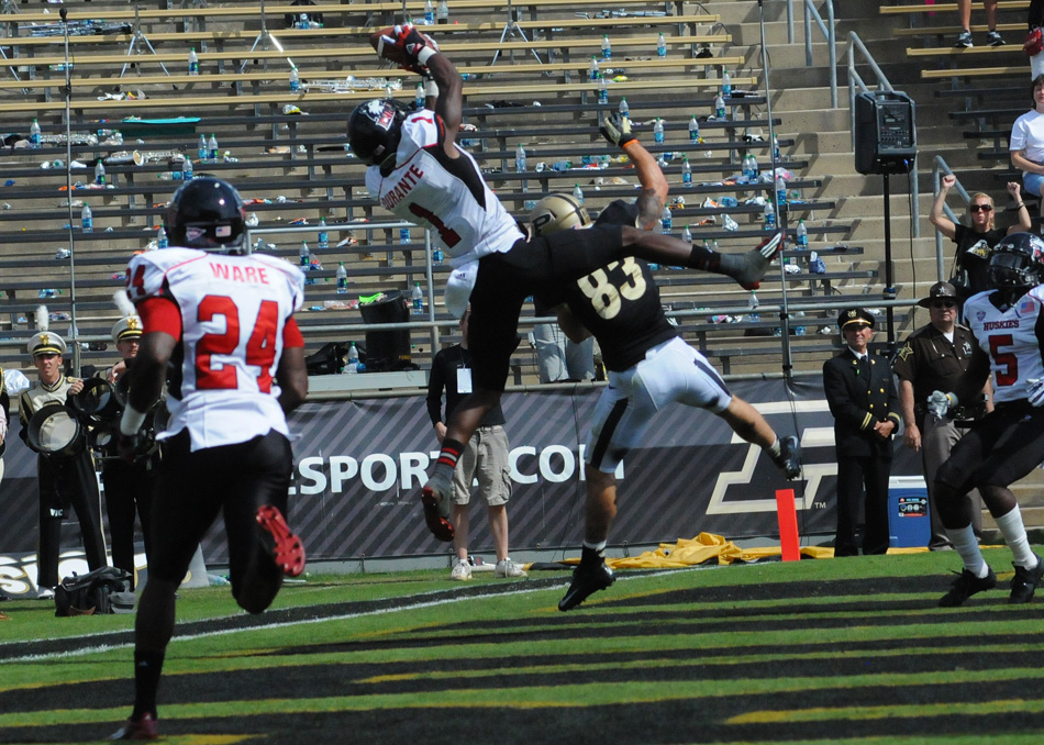 Northern Illinois defensive back Dechan Durante picks off a pass during the Huskies' 55-24 win at Purdue Saturday afternoon. (Photos by Dave Deak)