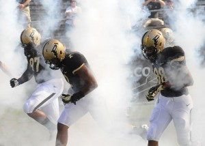 Purdue enters the field before the Northern Illinois game.