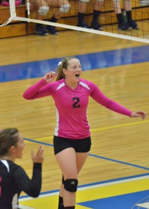 Triton's Krystal Sellers celebrates a point on Saturday.