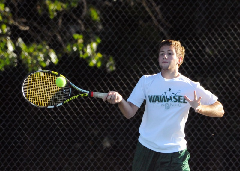 Wawasee senior Kyler Love won at No. 1 singles Thursday in the NLC Tournament at Plymouth (File photos by Mike Deak)
