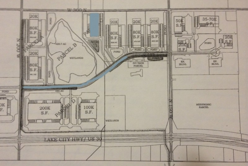 This preliminary plan shows the 90-plus acres the city of Warsaw is planning to purchase for the continued development of the Warsaw Technology Park. The blue shaded areas show a preliminary location for a shell building to be constructed in 2014, and the extended Polk Drive as the city hopes to accomplish.