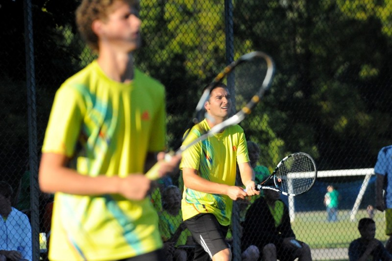 The Warsaw No. 1 doubles team of seniors Will Petro and Nikos Schlitt look to help the Tigers repeat as sectional champions. Warsaw opens sectional play at home versus Whitko Wednesday (File photo by Mike Deak)