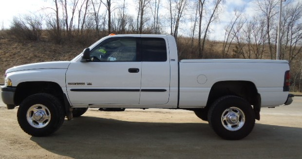 A white Dodge pickup, much like this one, was reported stolen from a Bourbon business on Thursday. Police are asking for the public's help in locating the vehicle.