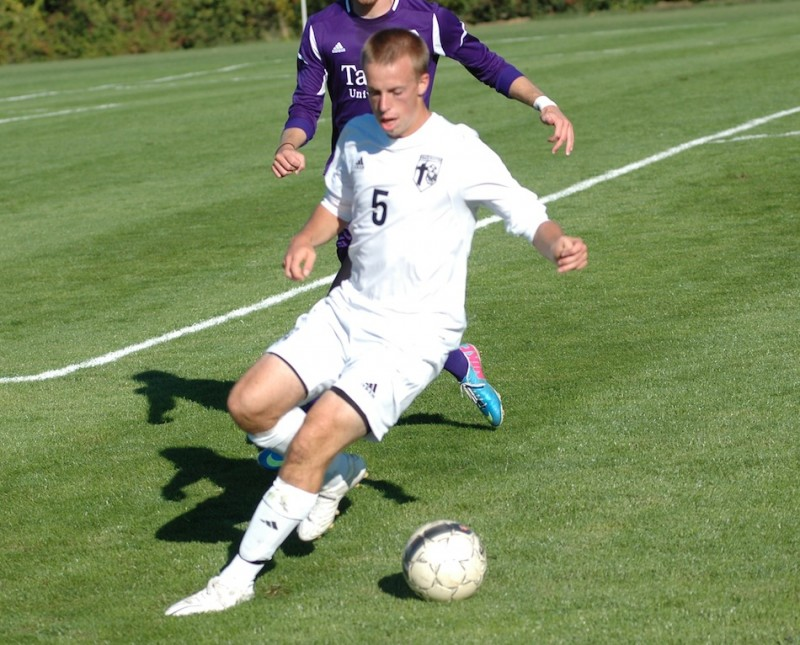 Kyle Hamlin scored the lone goal Wednesday to pace Grace past league foe Taylor 1-0 at Miller Field in Winona Lake (Photo provided by Grace College Sports Information Department)