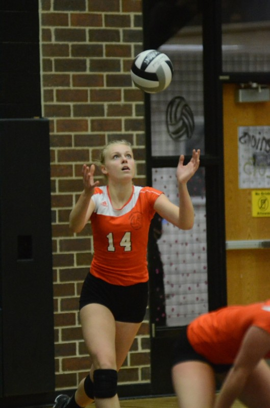Katie Voelz is focused on her toss for a big serve for the Tigers.