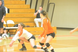 Emily Poe passes the ball for Warsaw in sectional action Saturday.