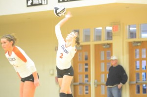 Laura Craig serves it up for Warsaw Saturday.