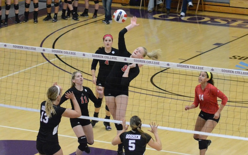 Dana Johnston of Grace College helped lead her team to a 3-0 win at Goshen College Wednesday night in the regular-season finale (Photo by Josh Gleason)