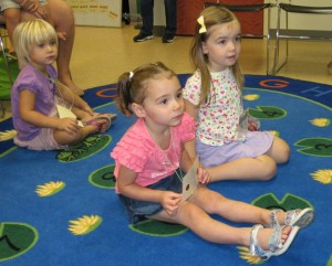 Elise Swain, Audrey Wells and Anna Saunders listen intently during last week's Preschool Story Time. For ages 3 to 5, Preschool Story Time is from 10:30 a.m. to 11:30 a.m. every Wednesday from now until Nov. 27 (with the exception of Oct. 23). (Photo provided)