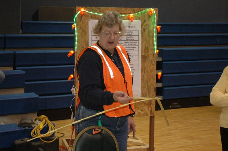 Electrician Cindy Shank was one of several women participating in the annual Nontraditional Employment for Women opportunities workshop. It was held at Quaker Haven near Dewart Lake. (Photo by Tim Ashley)