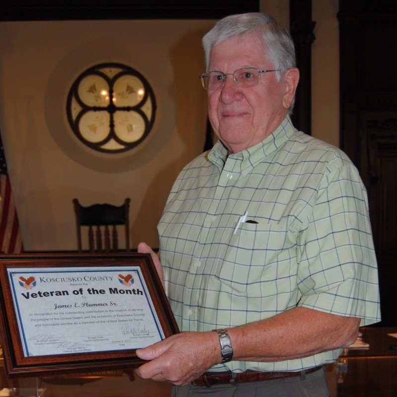 James E. Plummer Sr. of Syracuse was named Veteran of the Month at Kosciusko County Commissioners meeting Tuesday. Plummer served in the Air Force for 20 years, retiring in 1974. 