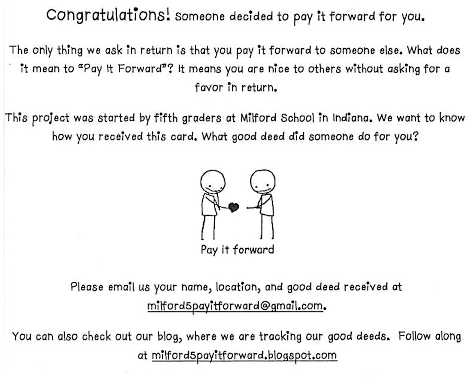 Milford Launches Pay It Forward Challenge – InkFreeNews com
