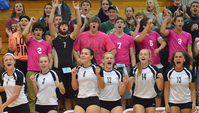 The Warrior bench and student section react to a big play by Wawasee in the third game of a sectional match against Fairfield on Thursday night. (Photos by Nick Goralczyk)