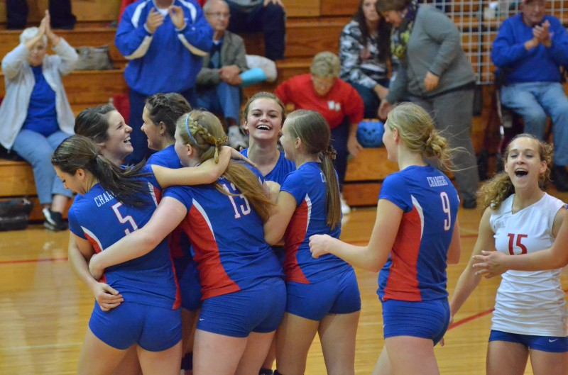 West Noble celebrates their winning point over Whitko in the fourth and final game of Tuesday's match.