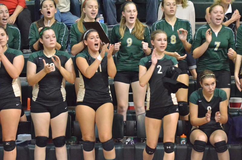 Wawasee seniors Kasey Napier (10) Lydia Katsaropolous (11) and Hunter Gaerte (2) cheer on their team after coming off the court for the last time at Wawasee High School. (Photos by Nick Goralczyk)