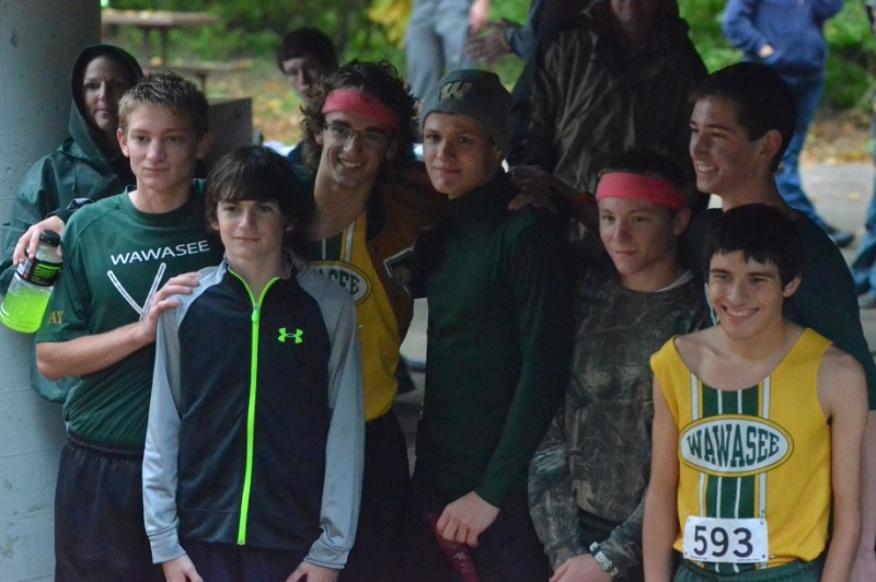 The Warrior boys pose for a picture after finishing third in Tuesday's sectional race.